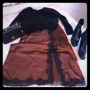 NWT Topshop Satin Midi Lace Trimmed Skirt